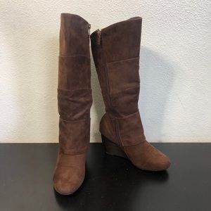 Leila Stone Brown Faux Suede Heeled Boots